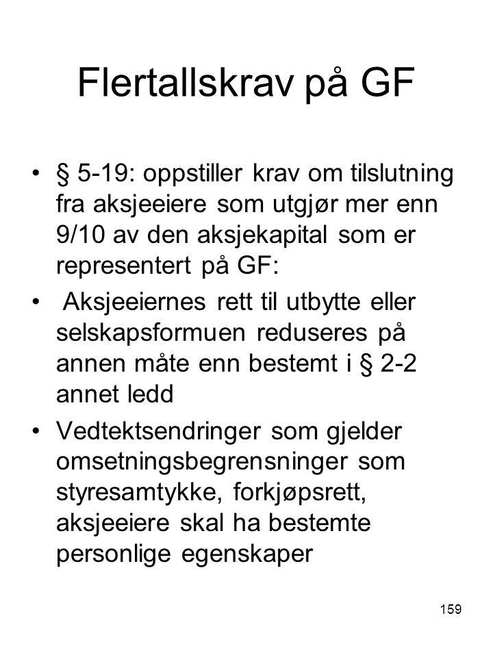 159 Flertallskrav på GF § 5-19: oppstiller krav om tilslutning fra aksjeeiere som utgjør mer enn 9/10 av den aksjekapital som er representert på GF: A