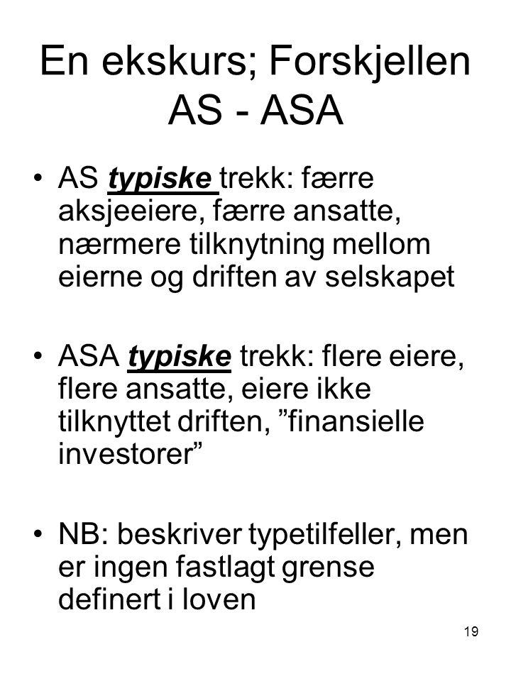 19 En ekskurs; Forskjellen AS - ASA AS typiske trekk: færre aksjeeiere, færre ansatte, nærmere tilknytning mellom eierne og driften av selskapet ASA t