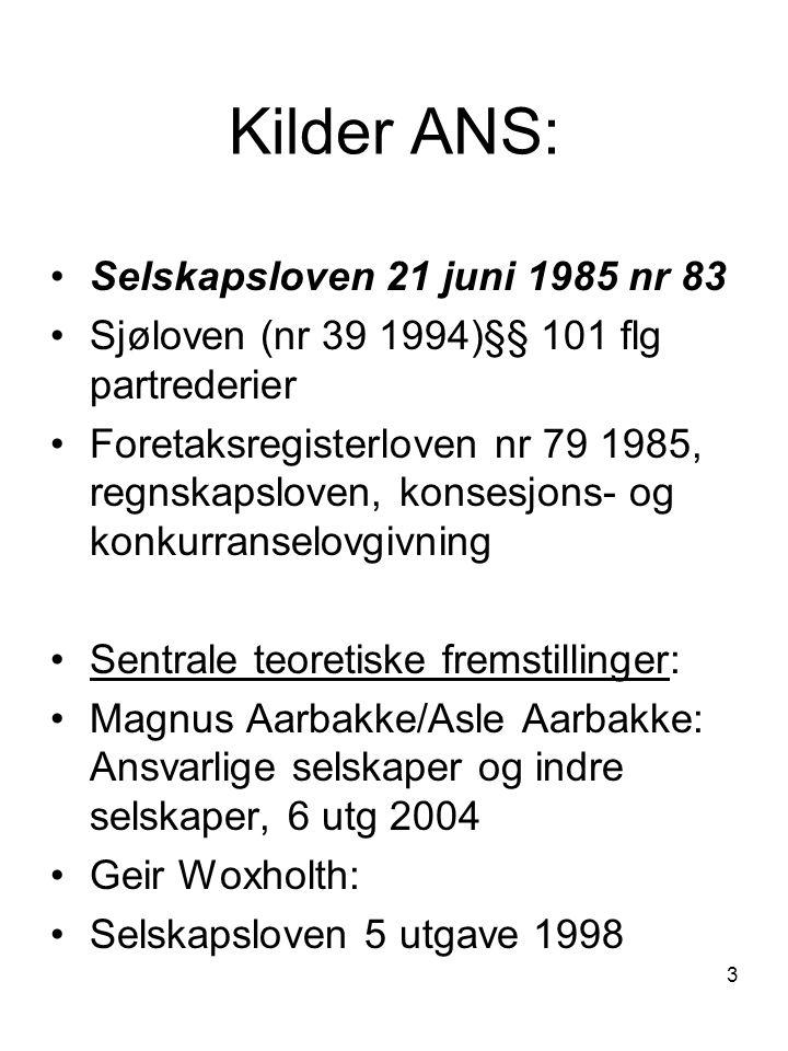 3 Kilder ANS: Selskapsloven 21 juni 1985 nr 83 Sjøloven (nr 39 1994)§§ 101 flg partrederier Foretaksregisterloven nr 79 1985, regnskapsloven, konsesjo