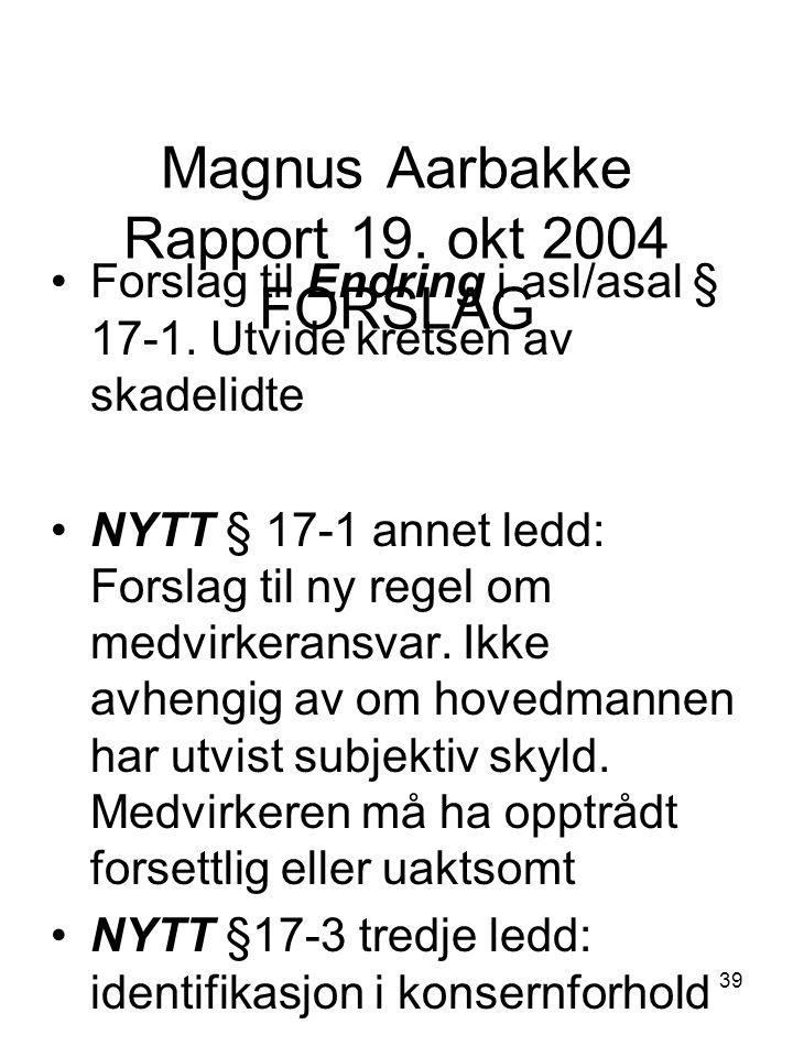 39 Magnus Aarbakke Rapport 19. okt 2004 FORSLAG Forslag til Endring i asl/asal § 17-1. Utvide kretsen av skadelidte NYTT § 17-1 annet ledd: Forslag ti