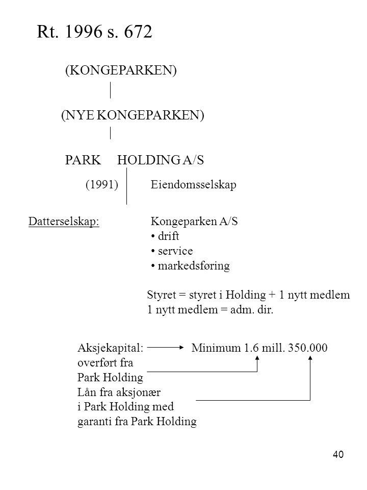 40 Rt. 1996 s. 672 (KONGEPARKEN) (NYE KONGEPARKEN) PARK HOLDING A/S (1991)Eiendomsselskap Datterselskap:Kongeparken A/S drift service markedsføring St
