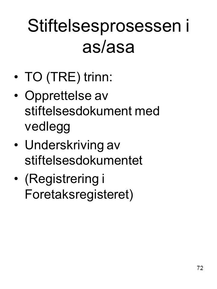 72 Stiftelsesprosessen i as/asa TO (TRE) trinn: Opprettelse av stiftelsesdokument med vedlegg Underskriving av stiftelsesdokumentet (Registrering i Fo