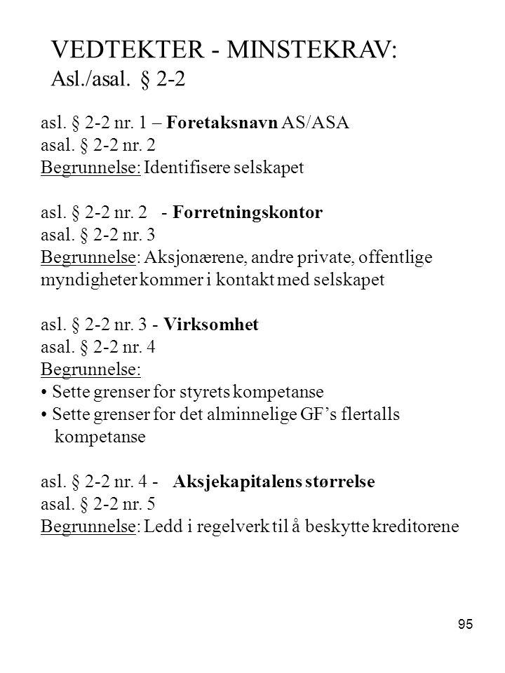 95 VEDTEKTER - MINSTEKRAV: Asl./asal. § 2-2 asl. § 2-2 nr. 1 – Foretaksnavn AS/ASA asal. § 2-2 nr. 2 Begrunnelse: Identifisere selskapet asl. § 2-2 nr