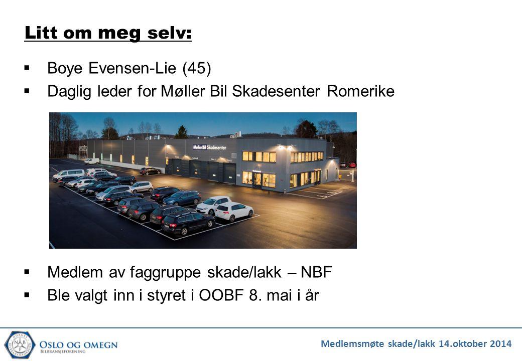  Boye Evensen-Lie (45)  Daglig leder for Møller Bil Skadesenter Romerike  Medlem av faggruppe skade/lakk – NBF  Ble valgt inn i styret i OOBF 8. m