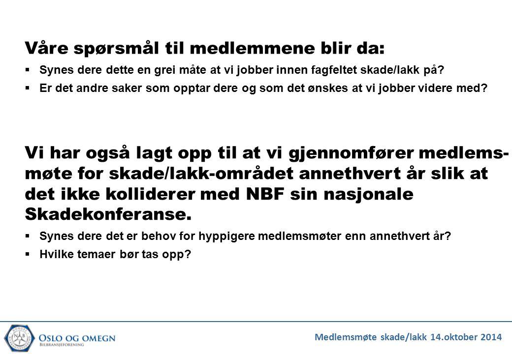 Medlemsmøte skade/lakk 14.oktober 2014 Våre spørsmål til medlemmene blir da:  Synes dere dette en grei måte at vi jobber innen fagfeltet skade/lakk p