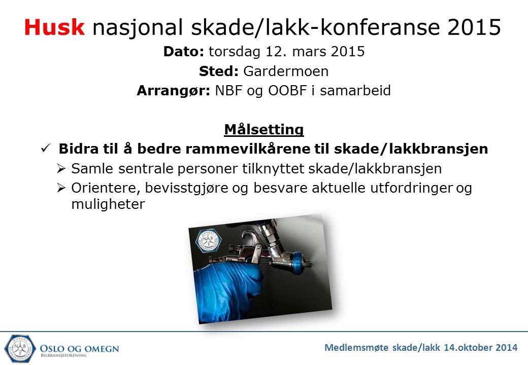 Husk nasjonal skade/lakk-konferanse 2015 Dato: torsdag 12. mars 2015 Sted: Gardermoen Arrangør: NBF og OOBF i samarbeid Målsetting Bidra til å bedre r