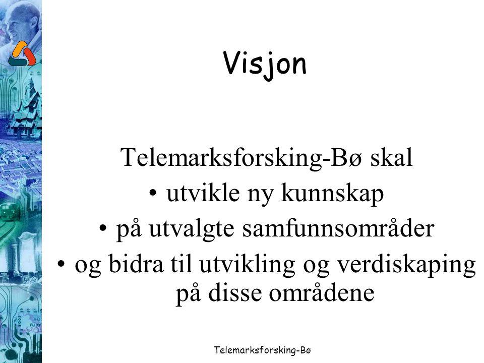 Telemarksforsking-Bø Visjon Telemarksforsking-Bø skal utvikle ny kunnskap på utvalgte samfunnsområder og bidra til utvikling og verdiskaping på disse