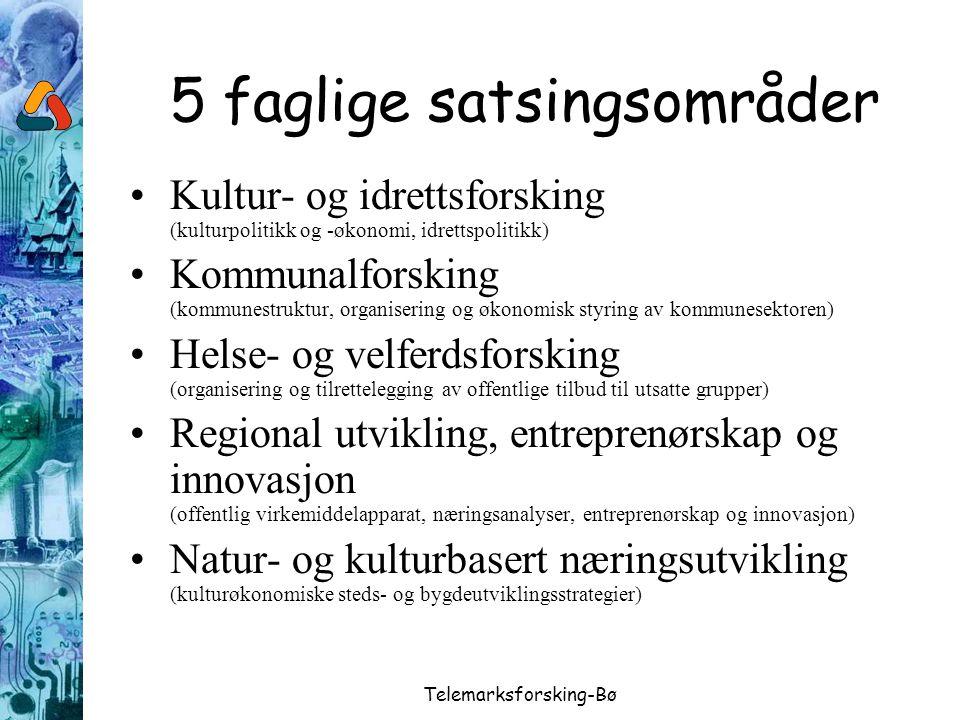 Telemarksforsking-Bø 5 faglige satsingsområder Kultur- og idrettsforsking (kulturpolitikk og -økonomi, idrettspolitikk) Kommunalforsking (kommunestruk
