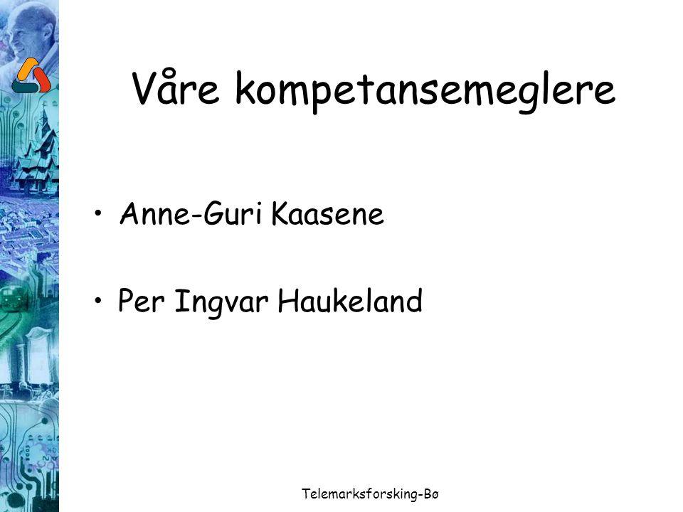 Telemarksforsking-Bø Våre kompetansemeglere Anne-Guri Kaasene Per Ingvar Haukeland