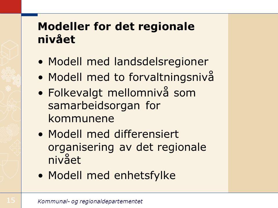Kommunal- og regionaldepartementet 15 Modeller for det regionale nivået Modell med landsdelsregioner Modell med to forvaltningsnivå Folkevalgt mellomnivå som samarbeidsorgan for kommunene Modell med differensiert organisering av det regionale nivået Modell med enhetsfylke