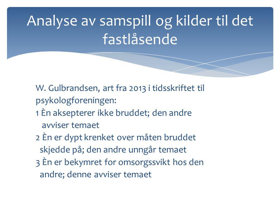 W. Gulbrandsen, art fra 2013 i tidsskriftet til psykologforeningen: 1 Èn aksepterer ikke bruddet; den andre avviser temaet 2 Èn er dypt krenket over m
