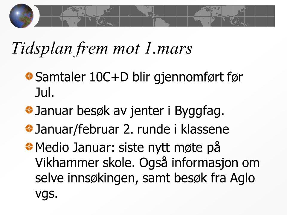 Tidsplan frem mot 1.mars Samtaler 10C+D blir gjennomført før Jul.
