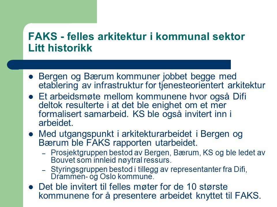 FAKS - felles arkitektur i kommunal sektor Litt historikk Bergen og Bærum kommuner jobbet begge med etablering av infrastruktur for tjenesteorientert arkitektur Et arbeidsmøte mellom kommunene hvor også Difi deltok resulterte i at det ble enighet om et mer formalisert samarbeid.