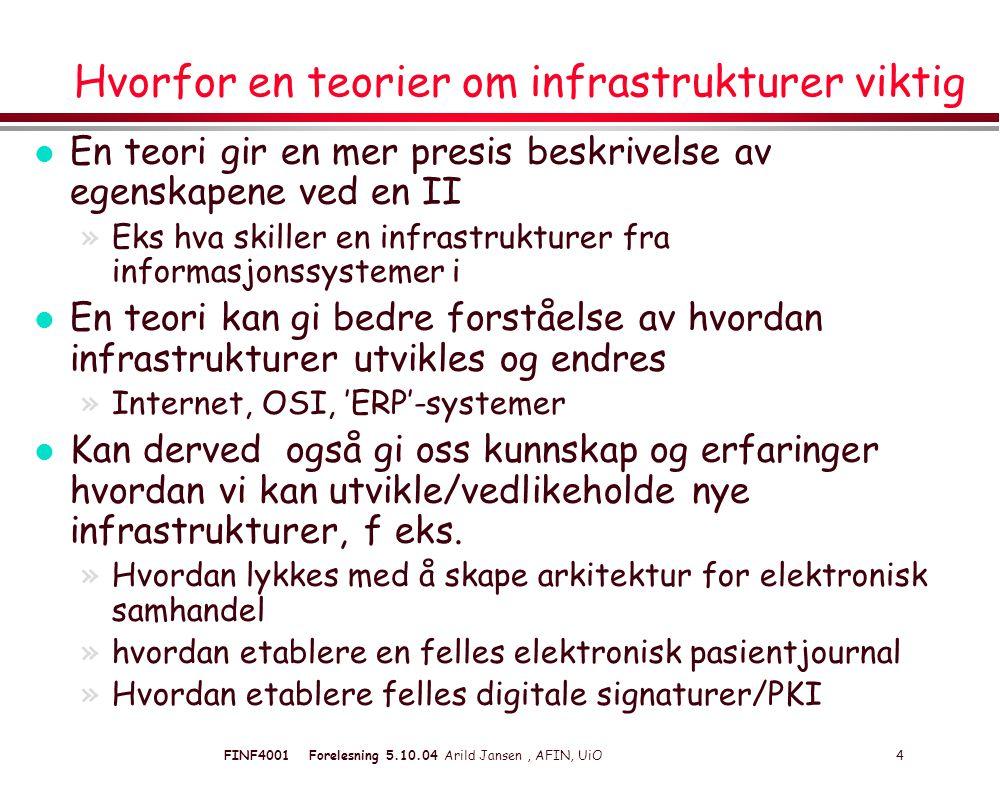 FINF4001 Forelesning 5.10.04 Arild Jansen, AFIN, UiO 5 Noen eksempler i norsk forvaltning l Statens tverrsektorielle nett : »Fellesbetegnelse på Depnett- SSI + SRI + l Helsenettet http://www.shdir.no/index.db2?id=330 http://www.shdir.no/index.db2?id=330 l Skolenettet.no http://skolenettet.ls.no/http://skolenettet.ls.no/ l Kulturnett: http://bibliotek.kulturnett.no/http://bibliotek.kulturnett.no/ l Public Key Infrastructure (PKI) l Forsvarets felles 'EPR-system (FISBasis) l IT-arkitektur for elektronisk samhandling http://odin.dep.no/aad/norsk/aktuelt/hoeringssaker/under_behandling/002 001-991446/dok-bn.html l Samordna opptak ( http://www.samordnaopptak.no ) http://www.samordnaopptak.no