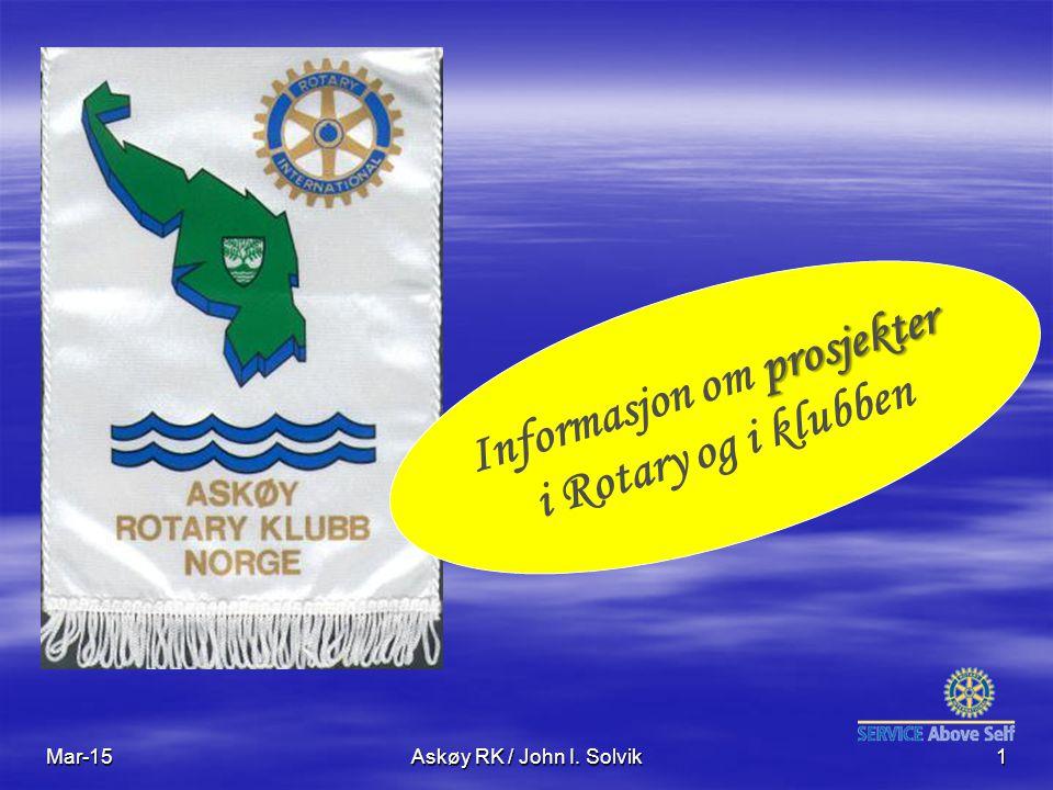 Mar-15Askøy RK / John I. Solvik1 prosjekter Informasjon om prosjekter i Rotary og i klubben