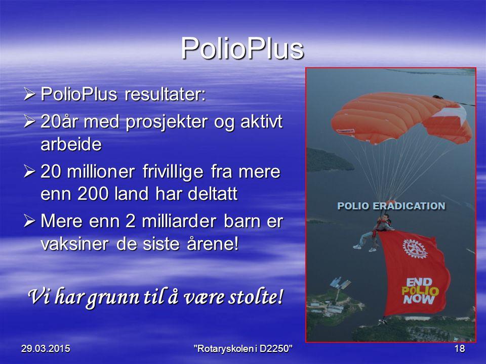 PolioPlus  PolioPlus resultater:  20år med prosjekter og aktivt arbeide  20 millioner frivillige fra mere enn 200 land har deltatt  Mere enn 2 milliarder barn er vaksiner de siste årene.