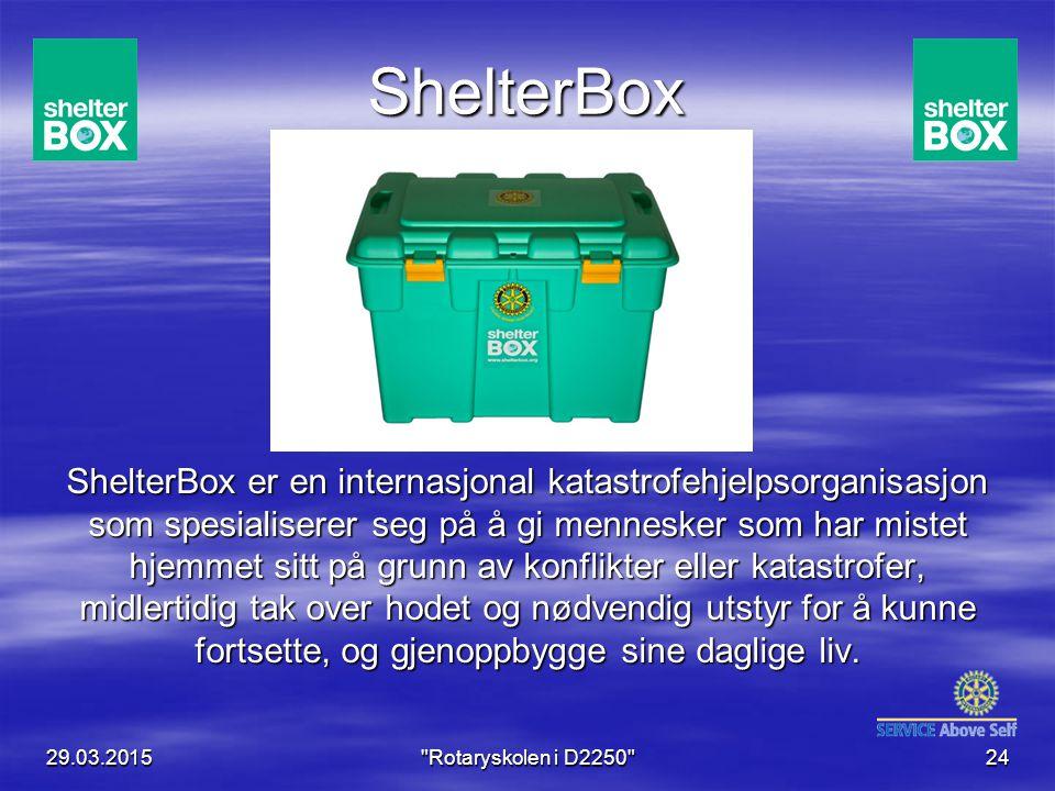 ShelterBox ShelterBox er en internasjonal katastrofehjelpsorganisasjon som spesialiserer seg på å gi mennesker som har mistet hjemmet sitt på grunn av konflikter eller katastrofer, midlertidig tak over hodet og nødvendig utstyr for å kunne fortsette, og gjenoppbygge sine daglige liv.