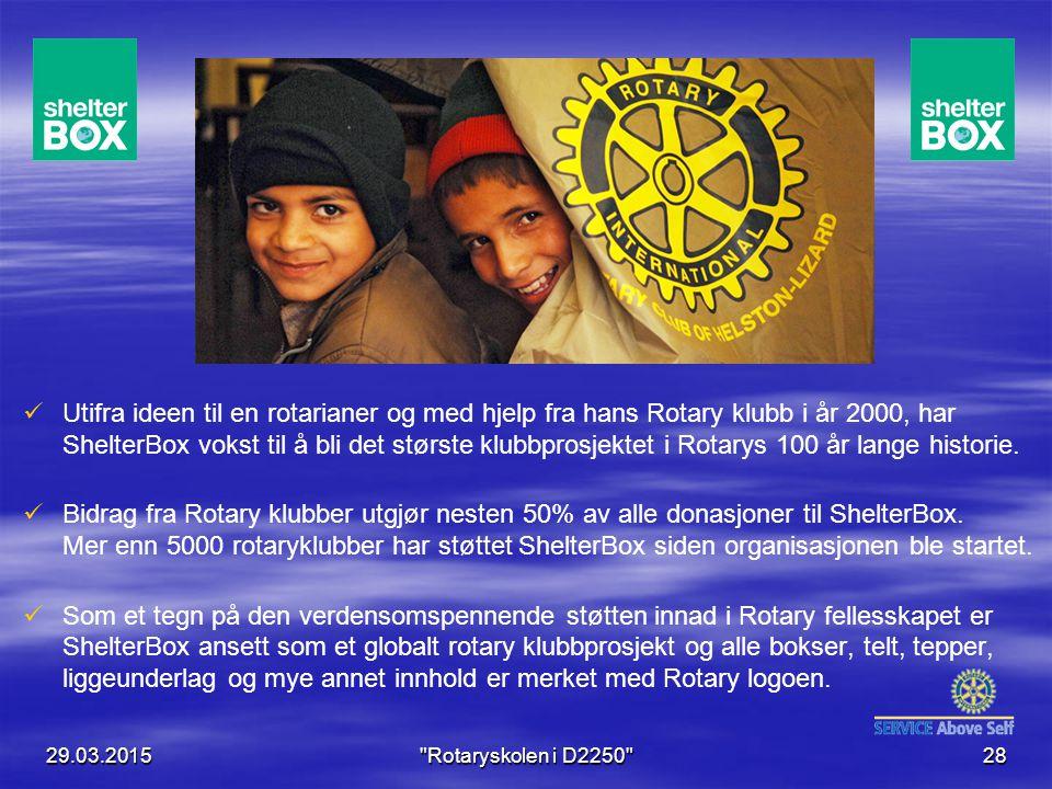 Utifra ideen til en rotarianer og med hjelp fra hans Rotary klubb i år 2000, har ShelterBox vokst til å bli det største klubbprosjektet i Rotarys 100 år lange historie.