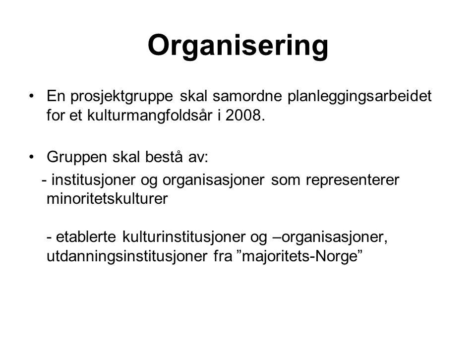 Organisering En prosjektgruppe skal samordne planleggingsarbeidet for et kulturmangfoldsår i 2008.