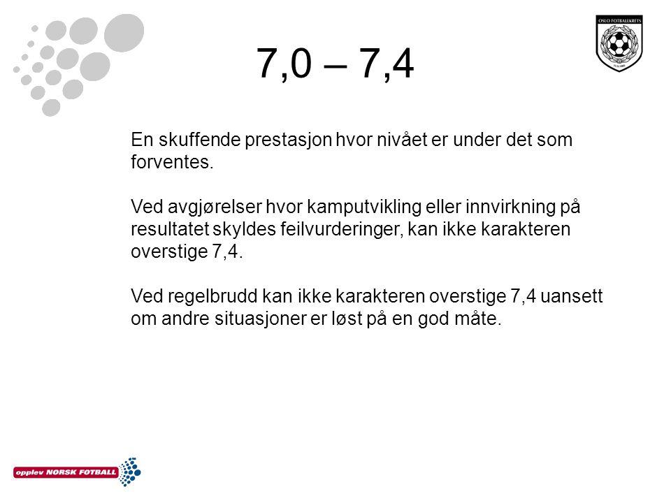 7,0 – 7,4 En skuffende prestasjon hvor nivået er under det som forventes.