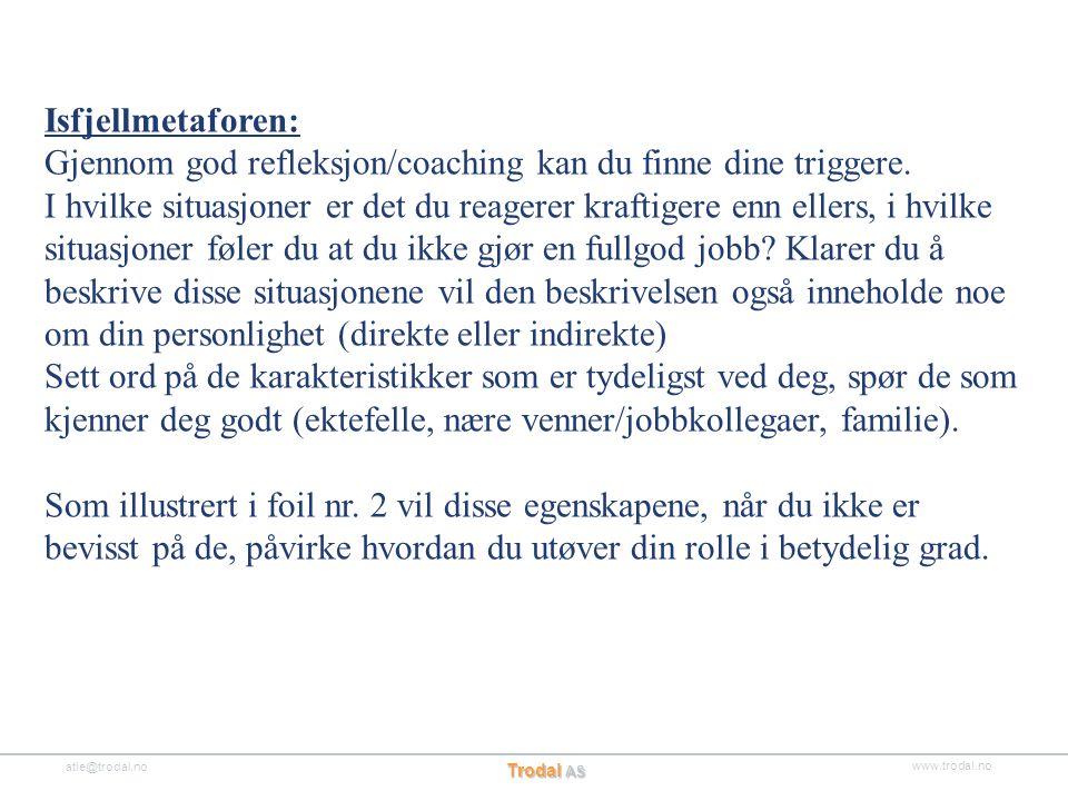 www.trodal.no atle@trodal.no Trodal AS Isfjellmetaforen: Gjennom god refleksjon/coaching kan du finne dine triggere. I hvilke situasjoner er det du re