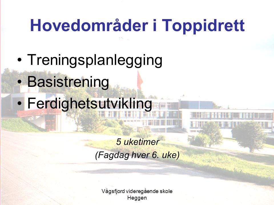 Vågsfjord videregående skole Heggen Hovedområder i Toppidrett Treningsplanlegging Basistrening Ferdighetsutvikling 5 uketimer (Fagdag hver 6. uke)