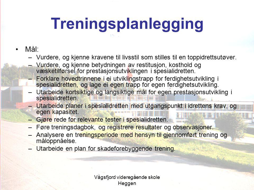 Vågsfjord videregående skole Heggen Treningsplanlegging Mål: –Vurdere, og kjenne kravene til livsstil som stilles til en toppidrettsutøver. –Vurdere,