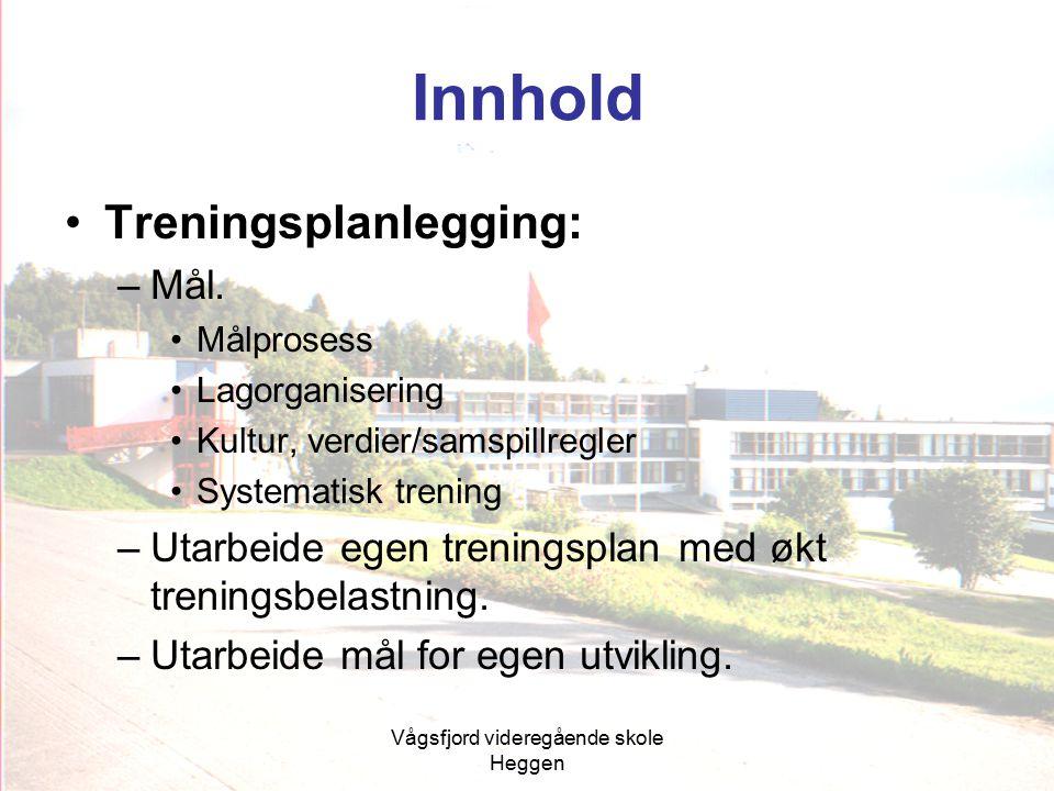 Vågsfjord videregående skole Heggen Innhold Treningsplanlegging: –Mål. Målprosess Lagorganisering Kultur, verdier/samspillregler Systematisk trening –