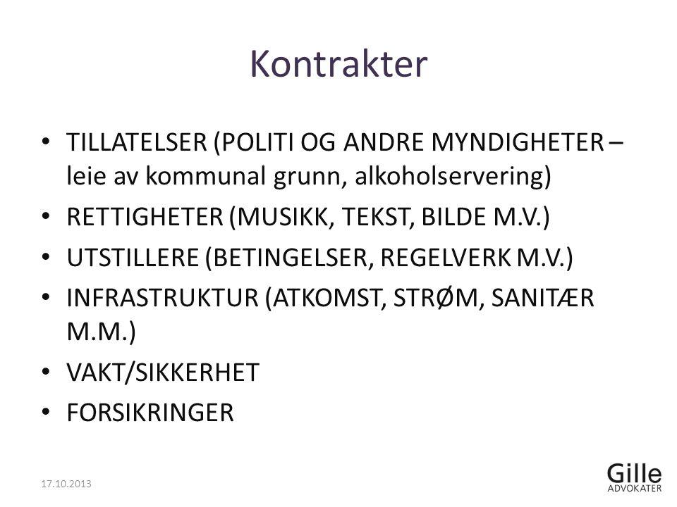Kontrakter TILLATELSER (POLITI OG ANDRE MYNDIGHETER – leie av kommunal grunn, alkoholservering) RETTIGHETER (MUSIKK, TEKST, BILDE M.V.) UTSTILLERE (BETINGELSER, REGELVERK M.V.) INFRASTRUKTUR (ATKOMST, STRØM, SANITÆR M.M.) VAKT/SIKKERHET FORSIKRINGER 17.10.2013