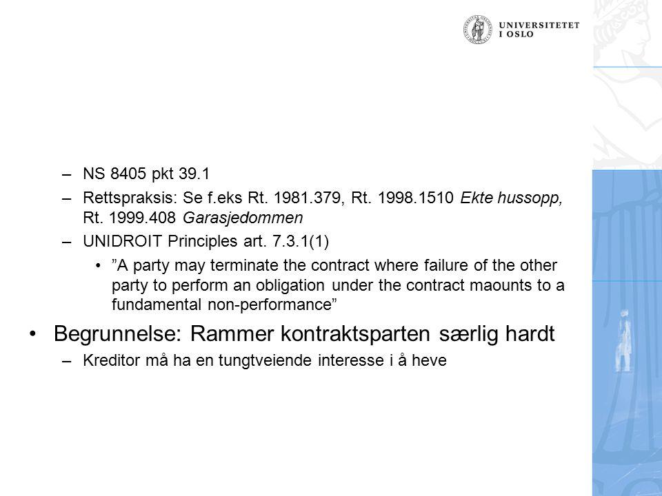 –NS 8405 pkt 39.1 –Rettspraksis: Se f.eks Rt.1981.379, Rt.