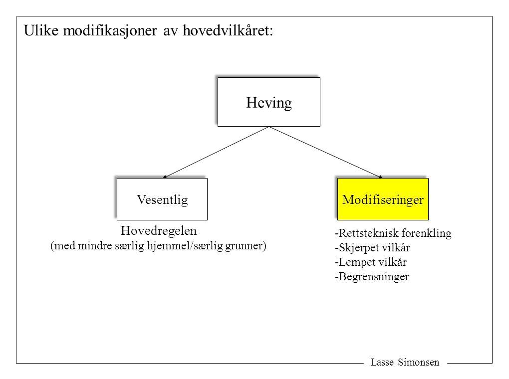 Lasse Simonsen Heving Vesentlig Modifiseringer Ulike modifikasjoner av hovedvilkåret: Hovedregelen (med mindre særlig hjemmel/særlig grunner) -Rettste