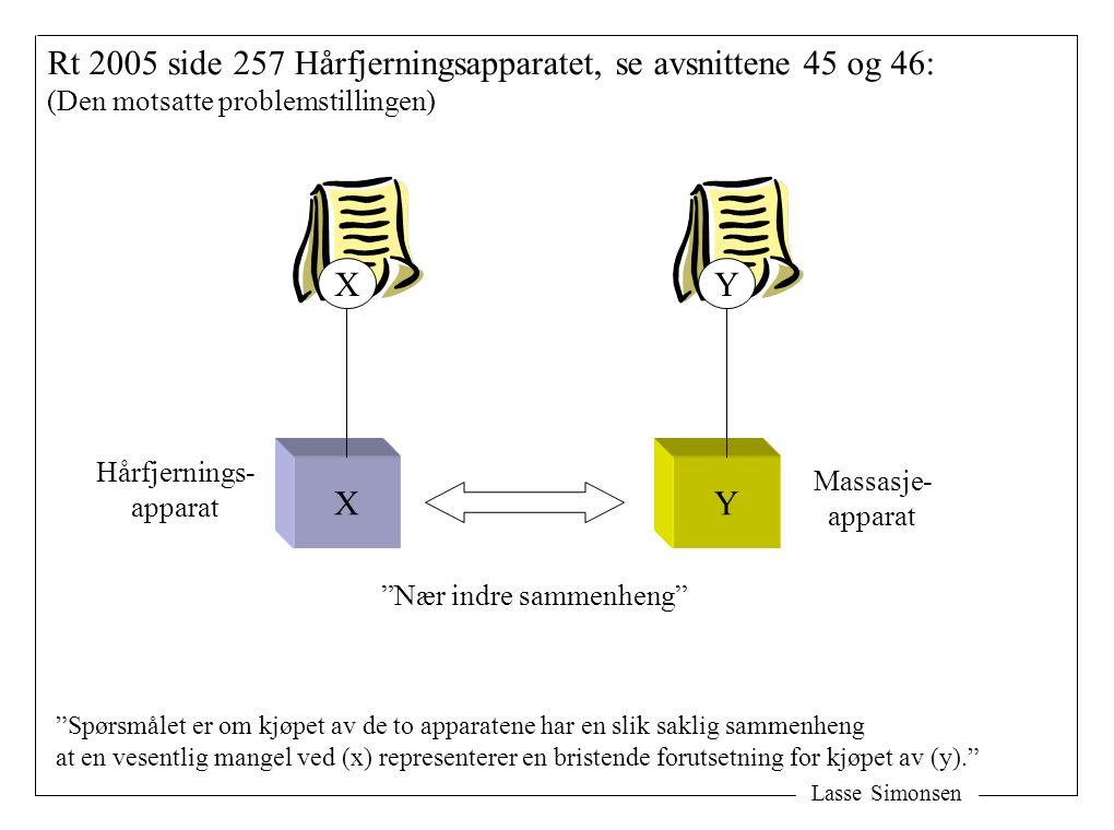 Lasse Simonsen Rt 2005 side 257 Hårfjerningsapparatet, se avsnittene 45 og 46: (Den motsatte problemstillingen) XY XY Hårfjernings- apparat Massasje- apparat Nær indre sammenheng Spørsmålet er om kjøpet av de to apparatene har en slik saklig sammenheng at en vesentlig mangel ved (x) representerer en bristende forutsetning for kjøpet av (y).