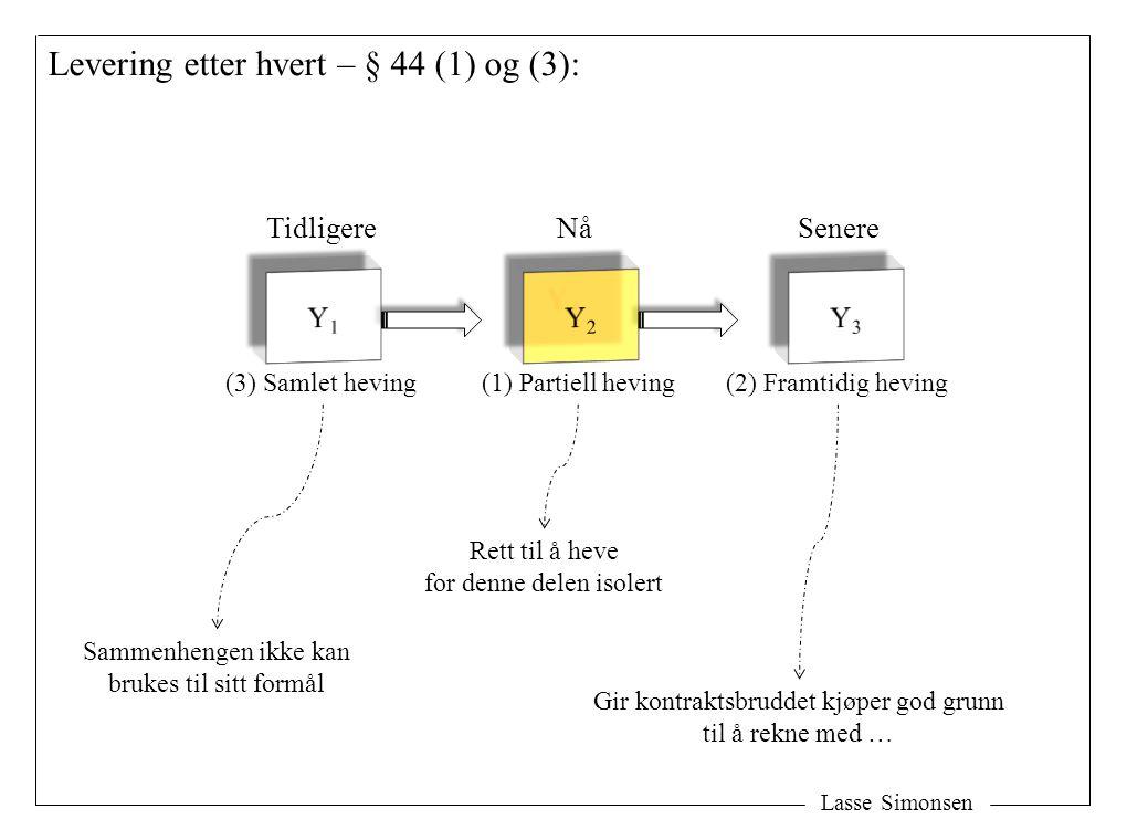 Lasse Simonsen Levering etter hvert – § 44 (1) og (3): TidligereNåSenere (1) Partiell heving(3) Samlet heving(2) Framtidig heving Sammenhengen ikke ka