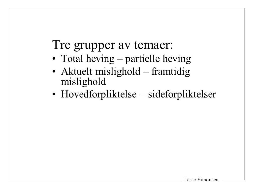 Tre grupper av temaer: Total heving – partielle heving Aktuelt mislighold – framtidig mislighold Hovedforpliktelse – sideforpliktelser Lasse Simonsen
