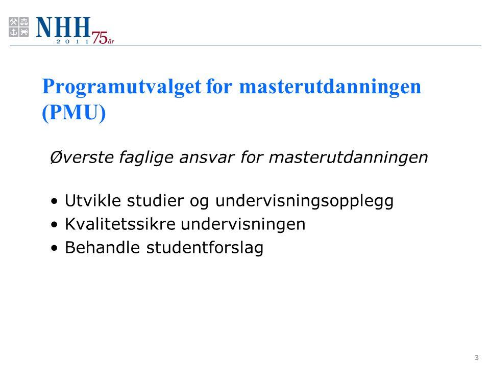Programutvalget for masterutdanningen (PMU) Øverste faglige ansvar for masterutdanningen Utvikle studier og undervisningsopplegg Kvalitetssikre underv