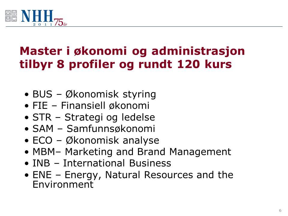 Master i økonomi og administrasjon tilbyr 8 profiler og rundt 120 kurs BUS – Økonomisk styring FIE – Finansiell økonomi STR – Strategi og ledelse SAM