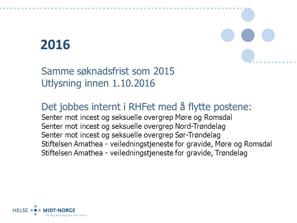 2016 Samme søknadsfrist som 2015 Utlysning innen 1.10.2016 Det jobbes internt i RHFet med å flytte postene: Senter mot incest og seksuelle overgrep Mø