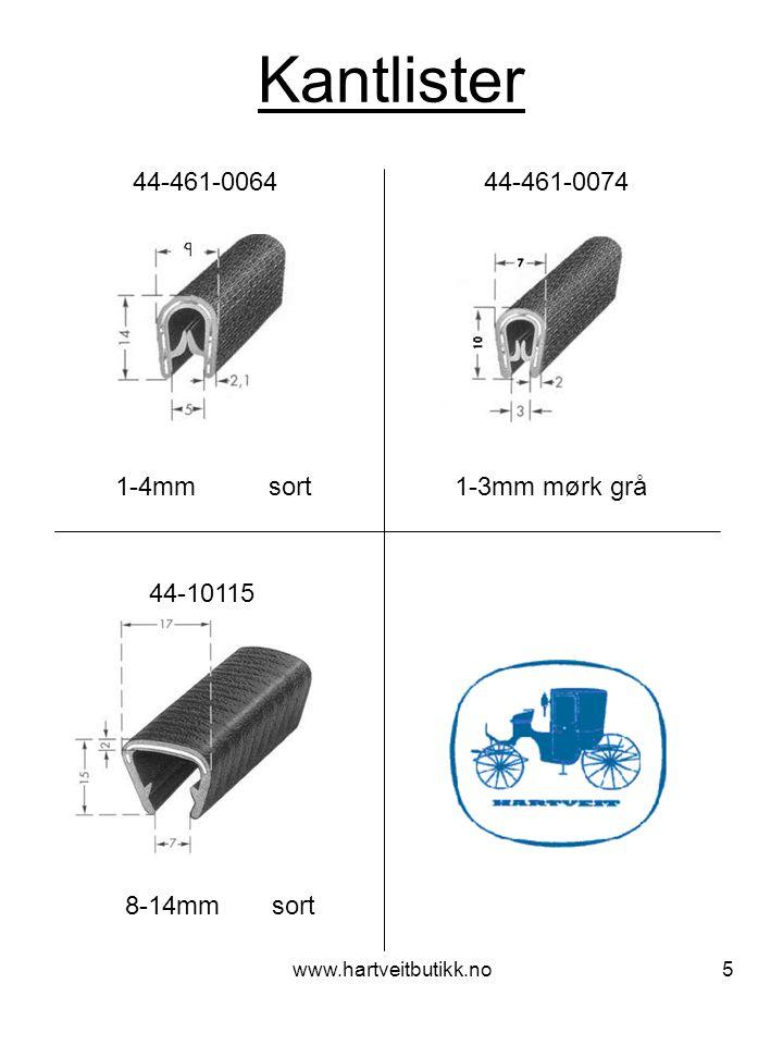 www.hartveitbutikk.no6 Kantlister med sidepakning 1-4mm sort 44-461-0046 44-461-0051 1-4mm sort 44-461-0066 44-461-0067 1-4mm sort 1-4mm sort