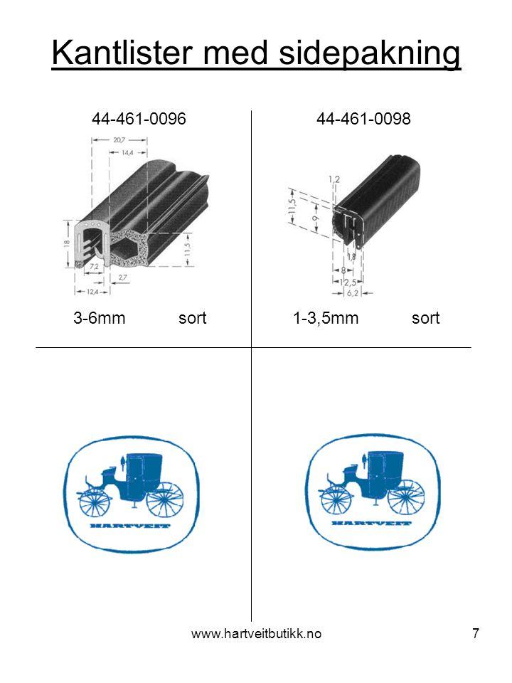 www.hartveitbutikk.no8 Kantlister med toppakning 1-4mm sort 44-461-0065 44-461-0069 1-2mm sort 44-461-0081 44-461-0089 1-3mm sort 2-4mm sort