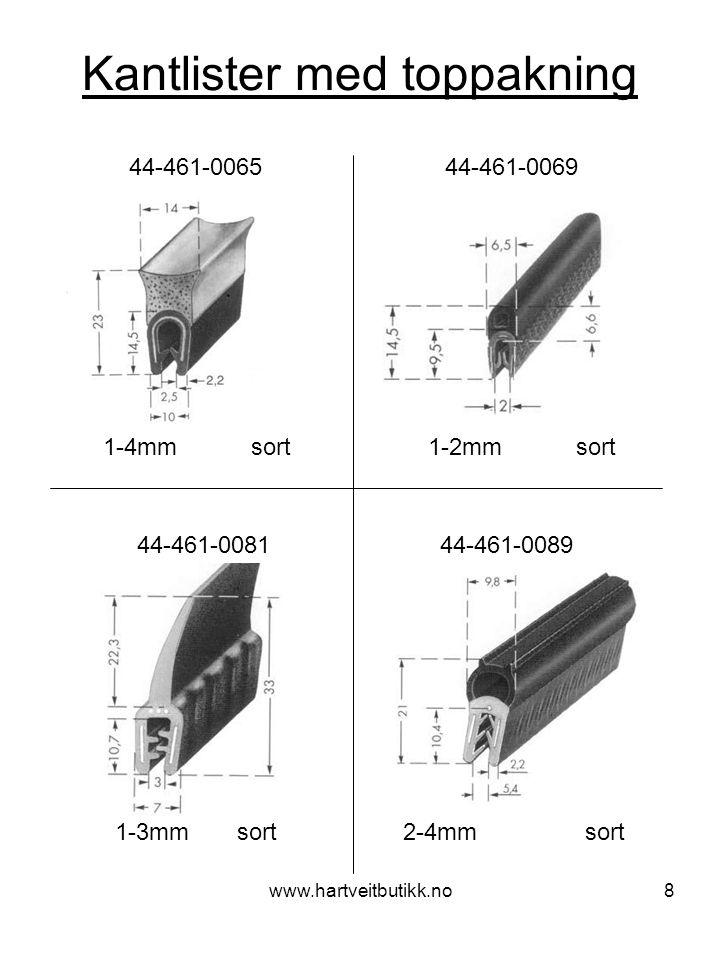 www.hartveitbutikk.no9 Kantlister med toppakning 2-4mm sort 44-461-0099 44-461-0102 1-3mm sort 44-10515 3-5mm sort