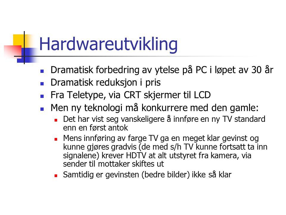 Hardwareutvikling Dramatisk forbedring av ytelse på PC i løpet av 30 år Dramatisk reduksjon i pris Fra Teletype, via CRT skjermer til LCD Men ny tekno