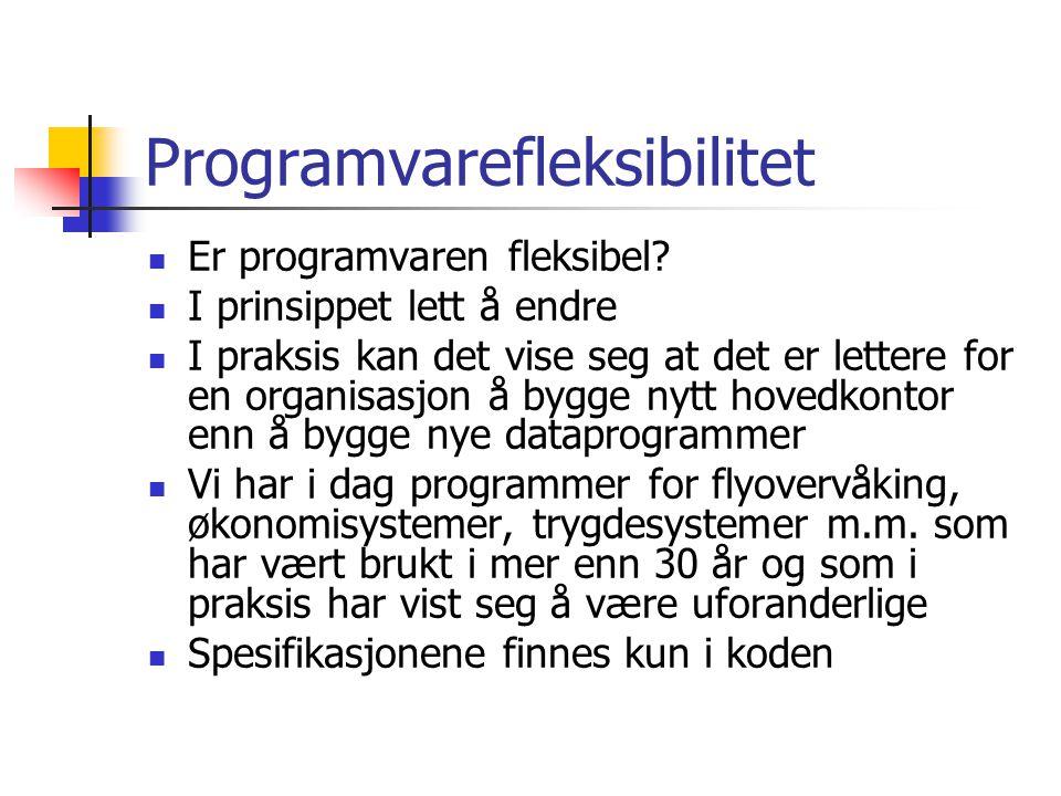 Programvarefleksibilitet Er programvaren fleksibel? I prinsippet lett å endre I praksis kan det vise seg at det er lettere for en organisasjon å bygge