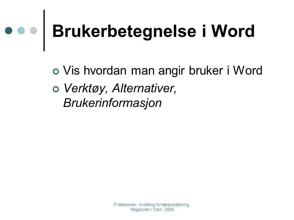 IT-seksjonen, Avdeling for lærerutdanning, Høgskolen i Oslo - 2004 Brukerbetegnelse i Word Vis hvordan man angir bruker i Word Verktøy, Alternativer, Brukerinformasjon