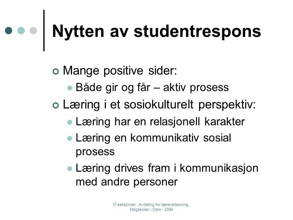 IT-seksjonen, Avdeling for lærerutdanning, Høgskolen i Oslo - 2004 I Classfronter mulighet for samtekstproduksjon FronterDokument med flere forfattere (+Chat, diskusjonsforum) Kan skrive sammen og gi hverandre respons