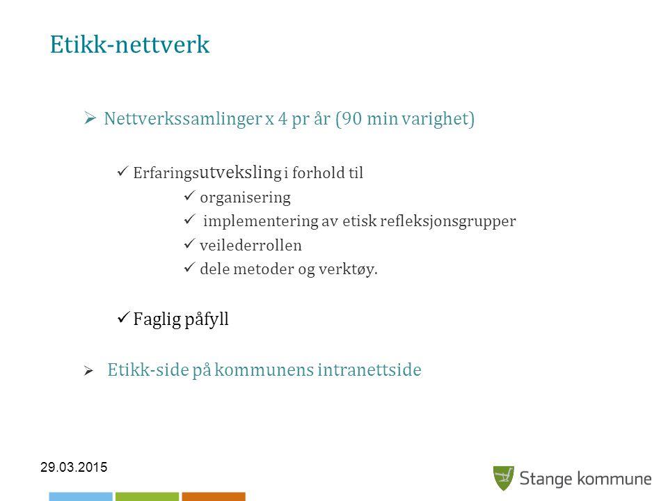 Etikk-nettverk  Nettverkssamlinger x 4 pr år (90 min varighet) Erfarings utvekslin g i forhold til organisering implementering av etisk refleksjonsgrupper veilederrollen dele metoder og verktøy.
