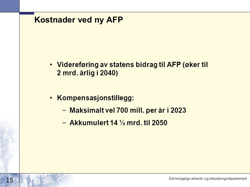 15 Det kongelige arbeids- og inkluderingsdepartement Kostnader ved ny AFP Videreføring av statens bidrag til AFP (øker til 2 mrd. årlig i 2040) Kompen