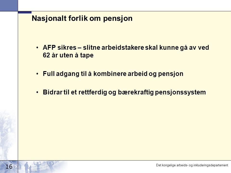 16 Det kongelige arbeids- og inkluderingsdepartement Nasjonalt forlik om pensjon AFP sikres – slitne arbeidstakere skal kunne gå av ved 62 år uten å t