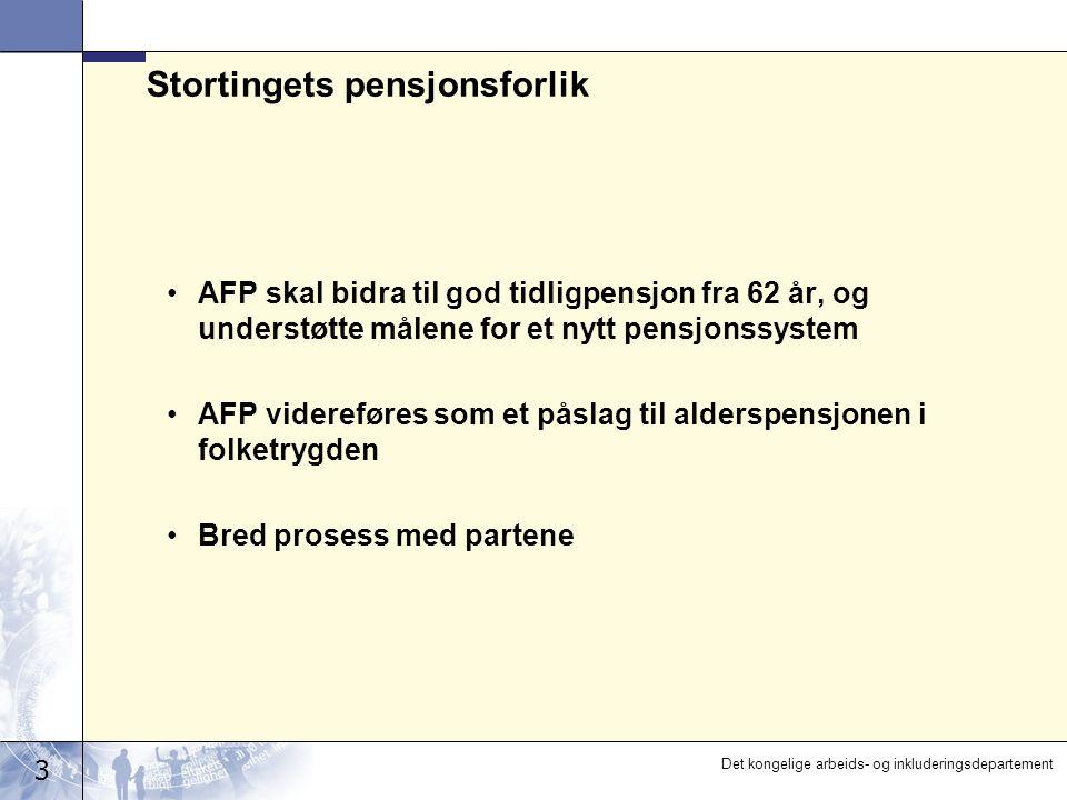 3 Det kongelige arbeids- og inkluderingsdepartement Stortingets pensjonsforlik AFP skal bidra til god tidligpensjon fra 62 år, og understøtte målene for et nytt pensjonssystem AFP videreføres som et påslag til alderspensjonen i folketrygden Bred prosess med partene