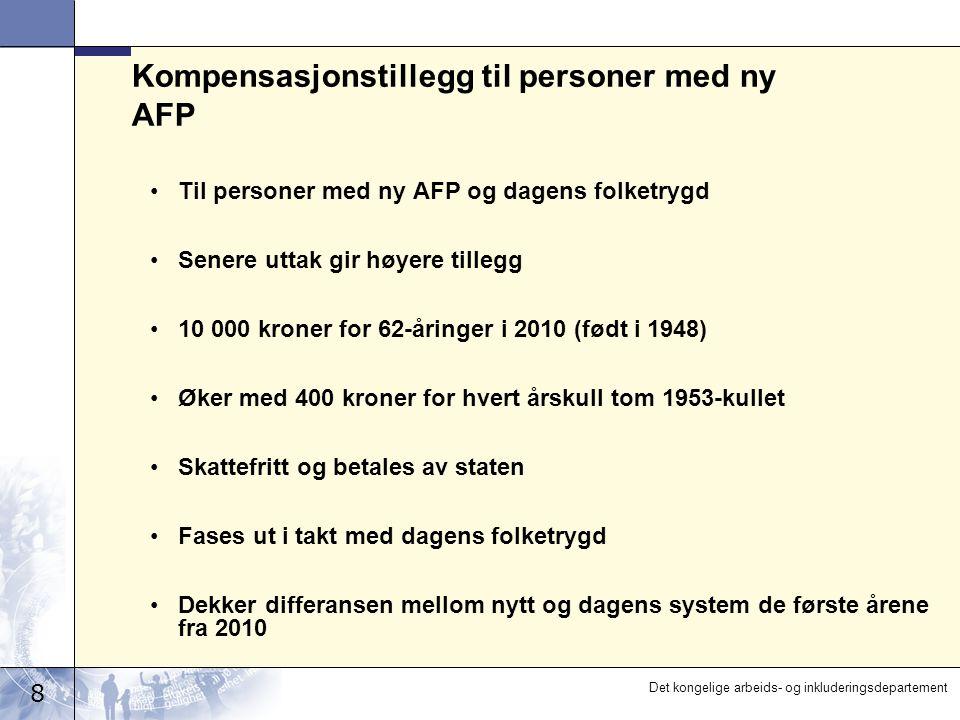 8 Det kongelige arbeids- og inkluderingsdepartement Kompensasjonstillegg til personer med ny AFP Til personer med ny AFP og dagens folketrygd Senere u