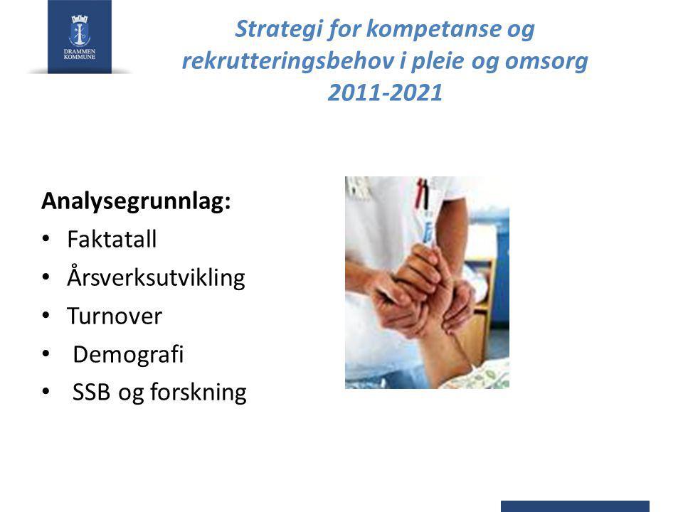 Strategi for kompetanse og rekrutteringsbehov i pleie og omsorg 2011-2021 Analysegrunnlag: Faktatall Årsverksutvikling Turnover Demografi SSB og forskning